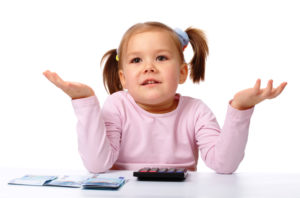 Cute little girl with few twenty euro banknotes and calculator shrugging her shoulders, isolated over white